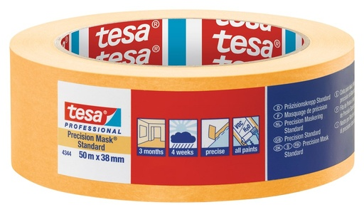 Tesa oranje-gele tape 4344 50m x 38mm